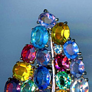 Vintage Multi Colored Rhinestone Fur Clip