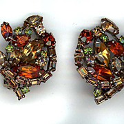 Autumn Colored Rhinestone Signed Weiss Earrings