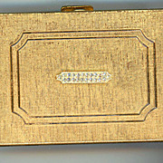 Brushed Gold Metal And Rhinestone Max Factor Compact
