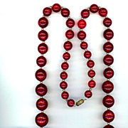 Huge Red Lucite Glitter Ball Necklace
