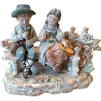 Hand-painted Bisque Music Box and Night lite Musicians With Dog