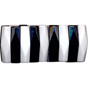 Black and White Lucite Faceted Stretch Bracelet