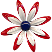 Large Metal Red, White and Blue Flower Pin