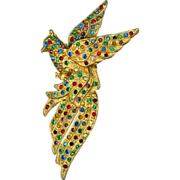 Large 1930's Colored Rhinestone Bird Pin
