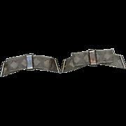 Silver Metal Mesh Bow Shoe Clips