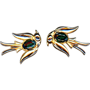 Coro Pegasus Emerald Rhinestone Bird Pin Set