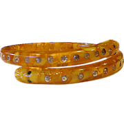 Yellow Celluloid Carved Double Headed Rhinestone Snake Bracelet