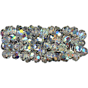 Aurora Crystal Stretch Bracelet Signed JAPAN