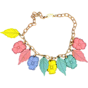 "15"" Colored Celluloid Flower and Leaf Necklace"