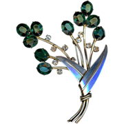 Large Sterling Silver and Green Paste Flower Pin