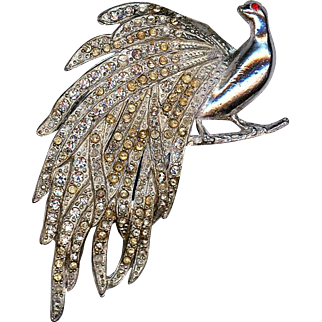 Old Rhinestone Pot Metal Peacock Pin