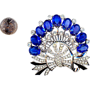 "Huge 3 1/2"" Sapphire Blue and Clear Rhinestone Eisenberg Pin"