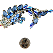 Large Lilien Czech Blue And Clear Rhinestone Fish Pin