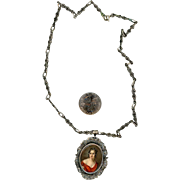 Beautiful Silver Hand-painted Regency Style Portrait Necklace