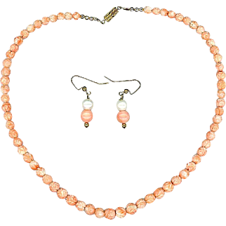 Carved Angel Skin Coral Necklace and Pearl Earrings