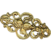 Large Gold Plated Art Deco Pin