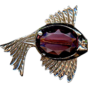 Large Sterling Silver Faux Amethyst Fish Pin