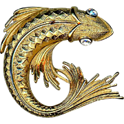 Large Gold Metal Monet Fish Pin