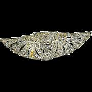 Art Deco Rhinestone Wing Pin