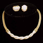 1980's Gloria Vanderbilt Gold Tone and Rhinestone Necklace and Matching Earrings.