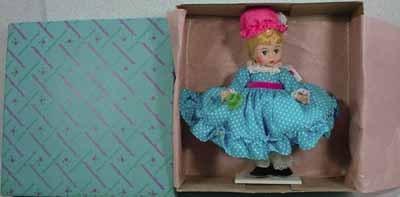 """NRFB Madame Alexander 8"""" Alexander-Kin Miss Muffet #452 from 1974."""