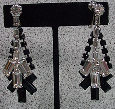 Dramatic 1950's Rhinestone Drop Earrings by Kramer!