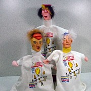 Set of Three Hand Crafted Hand Puppets from The International Festival of Puppet Theater NYC...