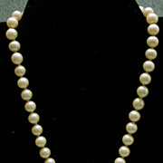 Art Deco Inspired 1950's  F aux Pearl Necklace with Rhinestone Clasp and Drop!