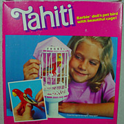 Mattel Never Removed From Box, Tahiti, Barbie's Pet Bird w/Cage, 1985.