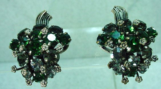Beautiful Made in Austria Rhinestone Clip -On Earrings 1950's.