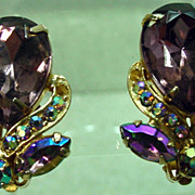 Garne Vintage Clip On Rhinestone Earrings, 1950's.