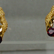 Trifari 1960's Gold Tone with Red Rhinestone Earrings, Mint!