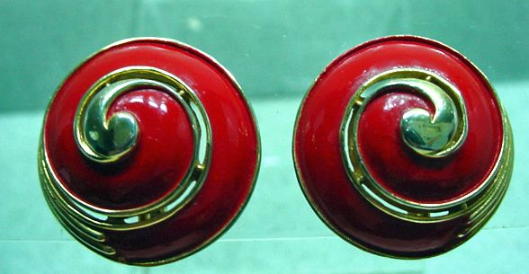 Trifari, 1960's Red Enamel, Shell Shaped Earrings.