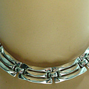 Trifari Silver Tone Link Necklace, 1950's.