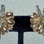 Lovely ,Trifari Gold Tone Leaf Earrings with Rhinestones, Early 1950'