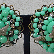1950's, DiMario, Turquoise Bead, Clip On Earrings