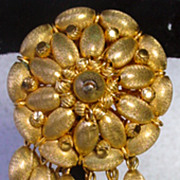 Unique, Vendome, Brushed Gold Dangle Brooch, 1960's!