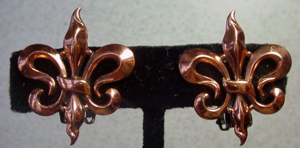 1950's, Renoir, Copper Clip On Earrings.