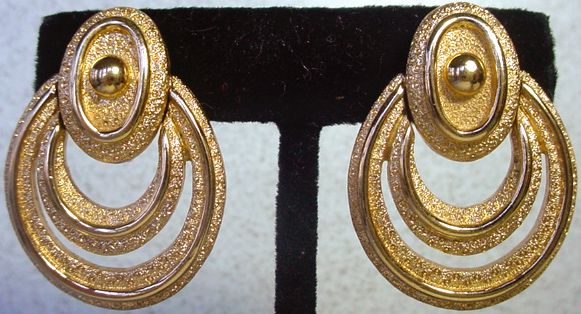 1980's Monet, Brushed Gold Multi Hoop Earrings.