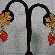 Nettie Rosenstein Faux Gold and Coral Drop Earrings, 1960's