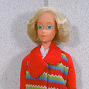 Mattel 1975 Deluxe Quick Curl Barbie in Get Ups 'N Go Outfit