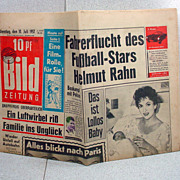 Rare Original German Bild Newspaper W/ Bild Lilli Cartoon. - Red Tag Sale Item
