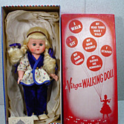 Virga Play Pals Walking Doll, MIB, Mid 1950's, WOW!