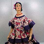 Wonderful and Unusual Cloth 1930's Bed Doll, Excellent Condition!