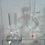 Orrefors Swedish Crystal Candle Sticks, 1980's