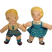 Pair of 1940's Boy and Girl Cloth Dolls, Adorable!