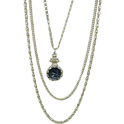 Vintage Goldette 3 Chain Necklace with Pendant, 1950's!