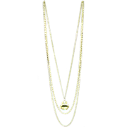 "Lovely ""Goldette"" Vintage 3 Chain Necklace with Faux Torquoise Drop"