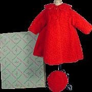 "Vintage Madame Alexander Red ""Persian Lamb"" Coat and Hat, MIB, 1950's"