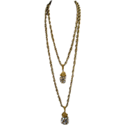 Vintage Miriam Haskell 1960's Long Double Strand Necklace!